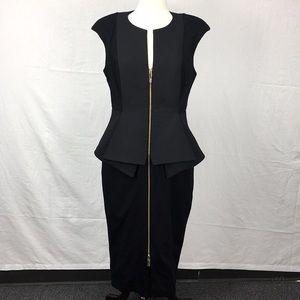 Ted Baker Black Jumana Textured Peplum Midi Dress